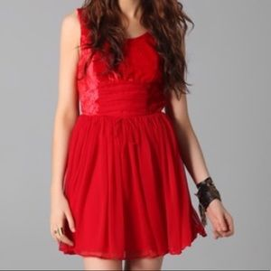Free People red crushed velvet babydoll dress